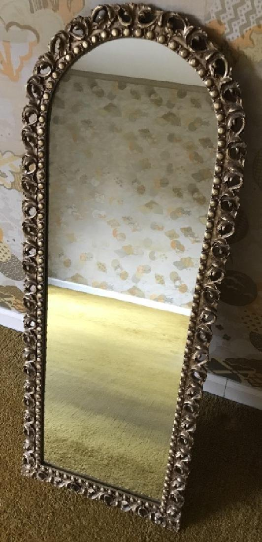 Gold Tone Arched Top Italian Baroque Style Mirror