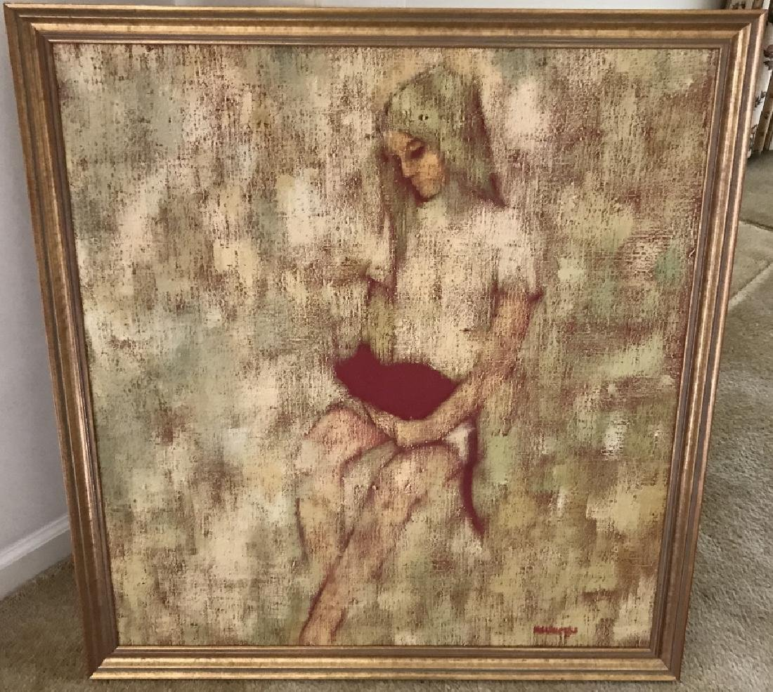 Mid Century Modern Signed Girl w Cat Painting