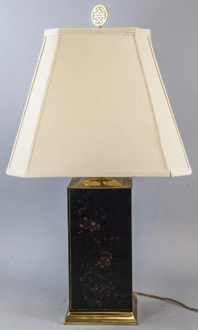 Painted Leather Vintage Asian Style Table Lamp