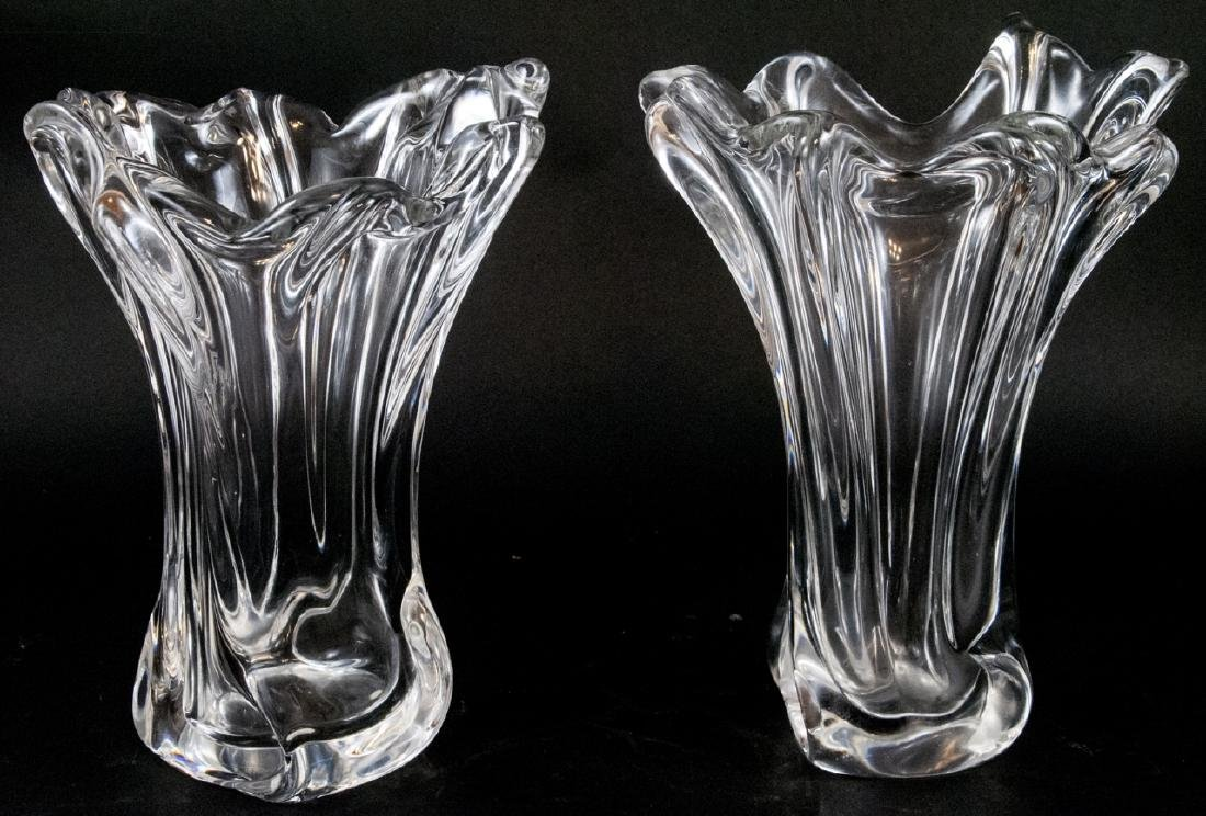 Pair of French Art Glass Free Form Vases