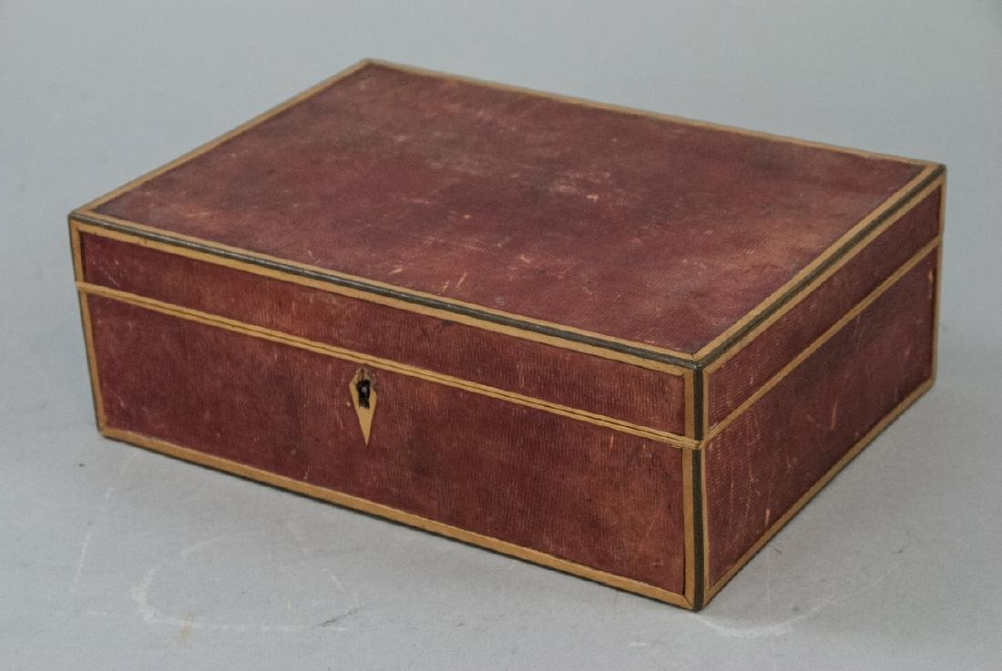 Antique Red Leather Jewelry or Table Box w Key