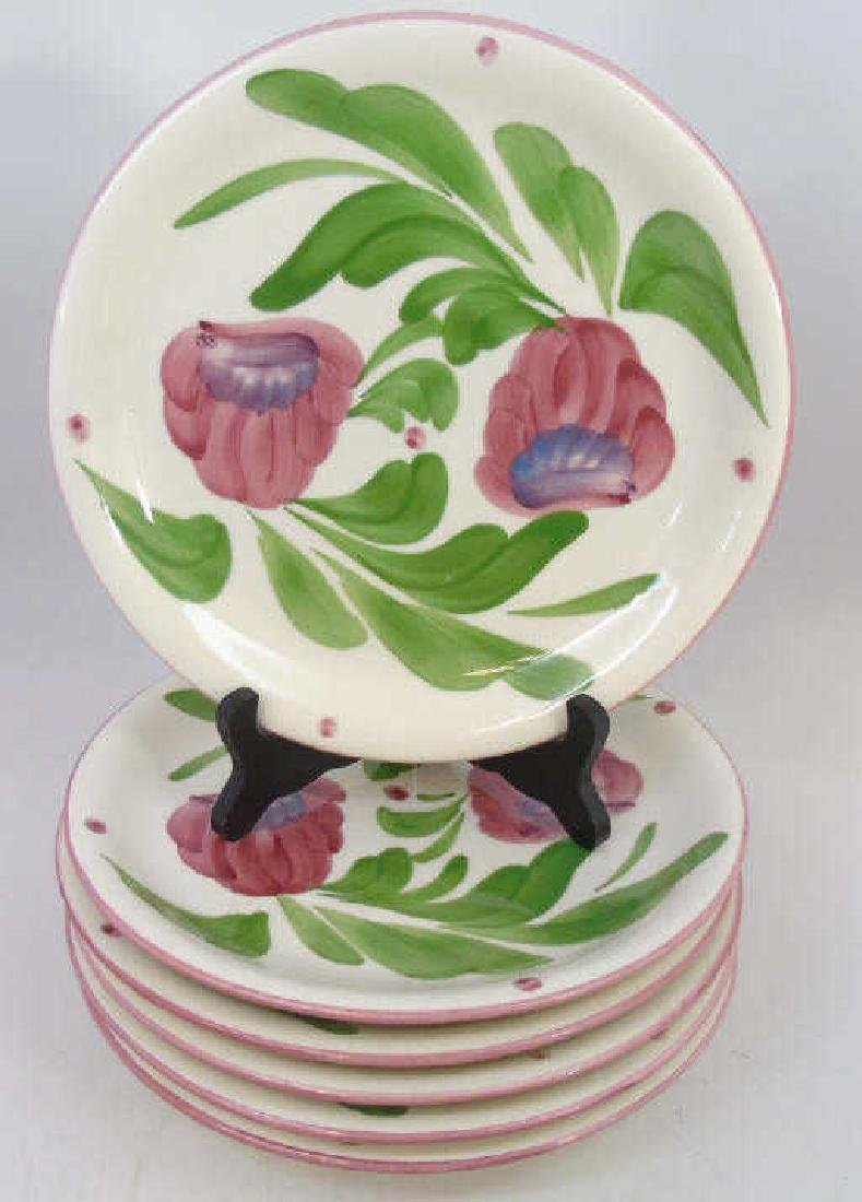 Set of Hand Painted Pottery Dinner Plates w Fruit