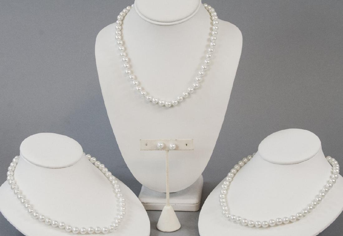 Three Akoya Style Pearl Necklaces & Stud Earrings.