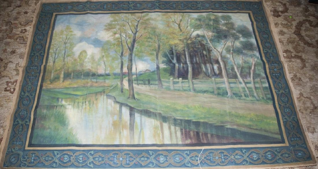 Antique Hand Painted Tapestry in Flemish Style