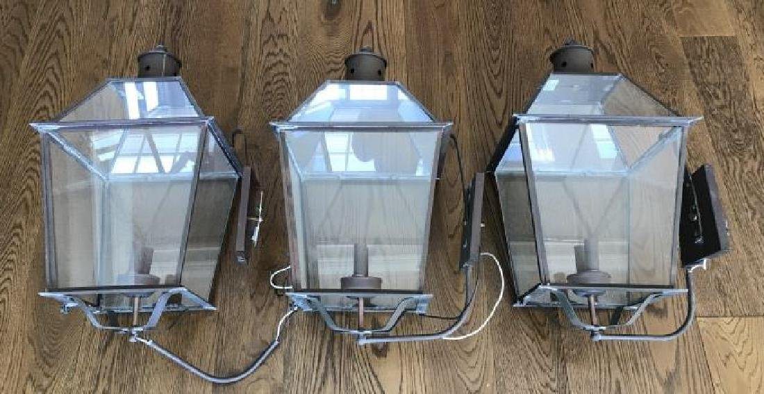 Three Contemporary Copper & Glass Outdoor Lanterns