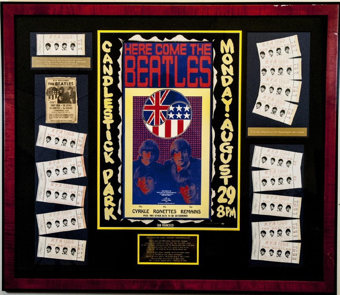 Beatles Framed Original Poster & Original Tickets