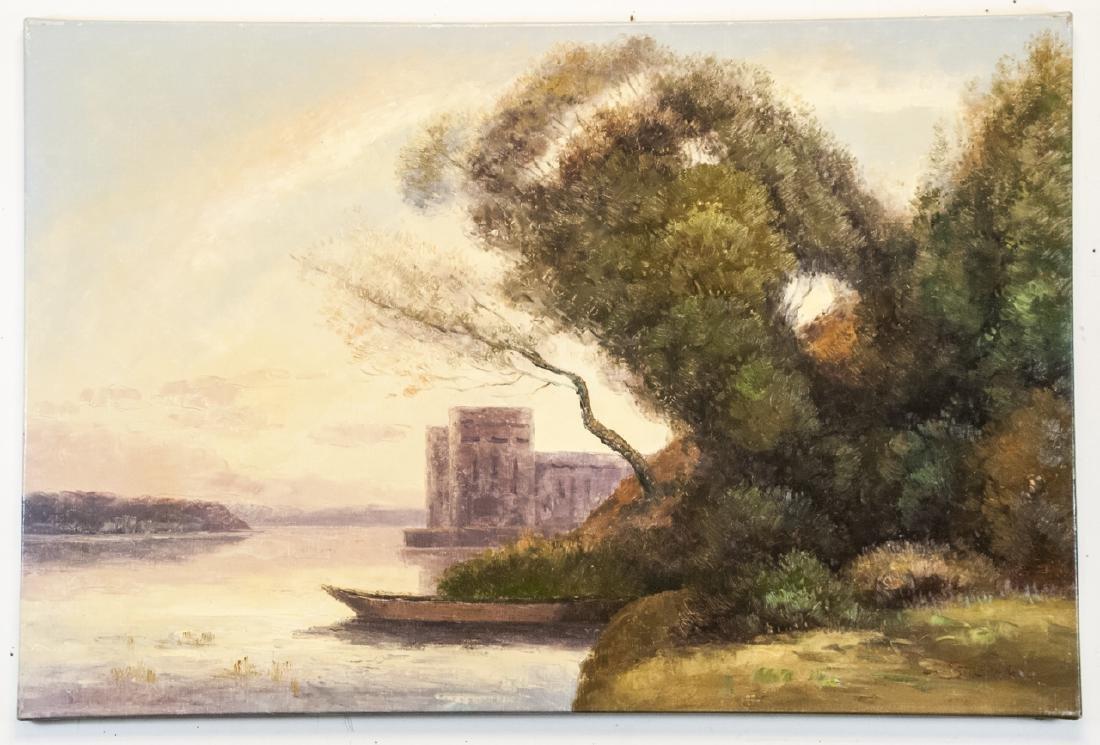Oil on Canvas, River Landscape, Signed
