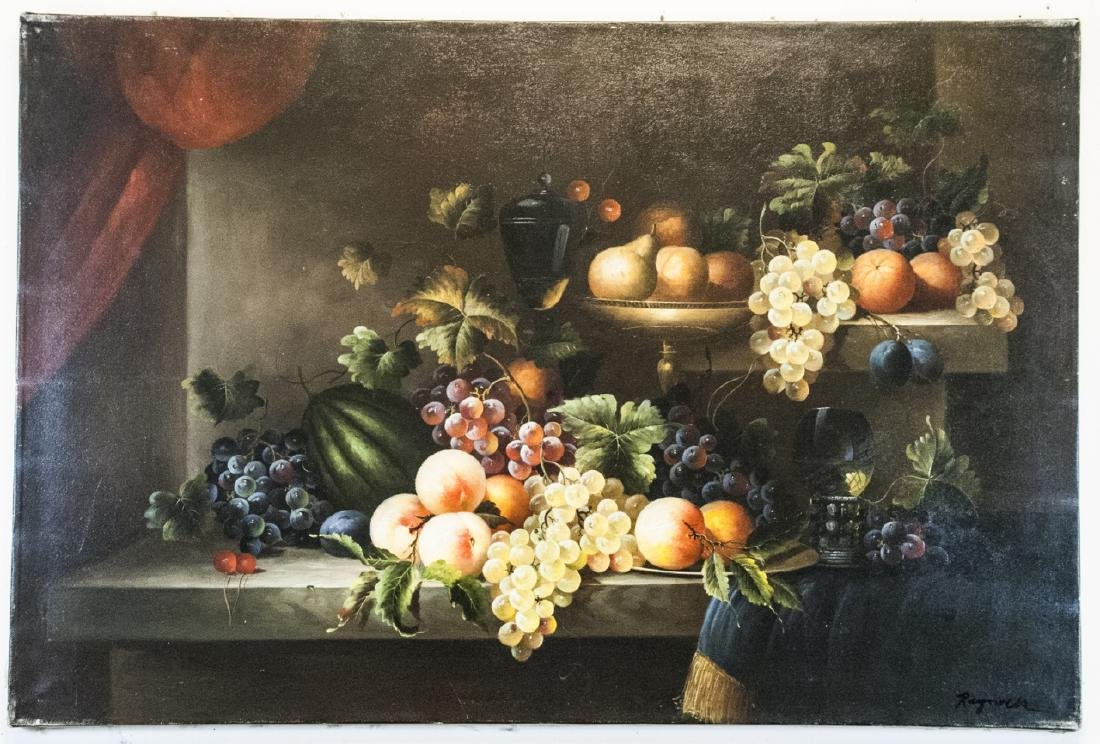 Oil on Canvas, Fruit Still Life, Signed