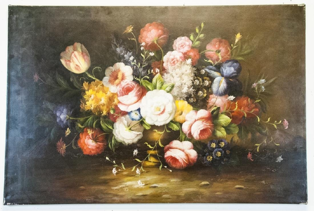 Oil on Canvas, Floral in Urn Still Life, Signed