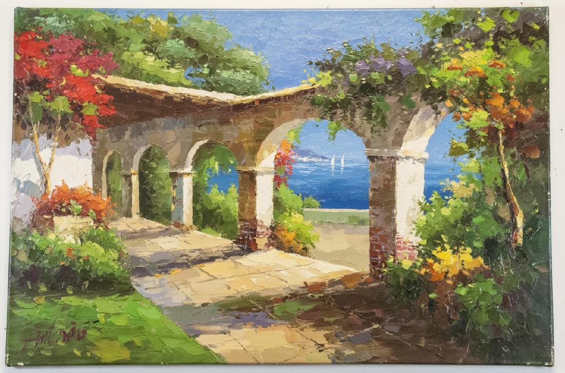 Oil on Canvas, Mediterranean Terrace, Signed