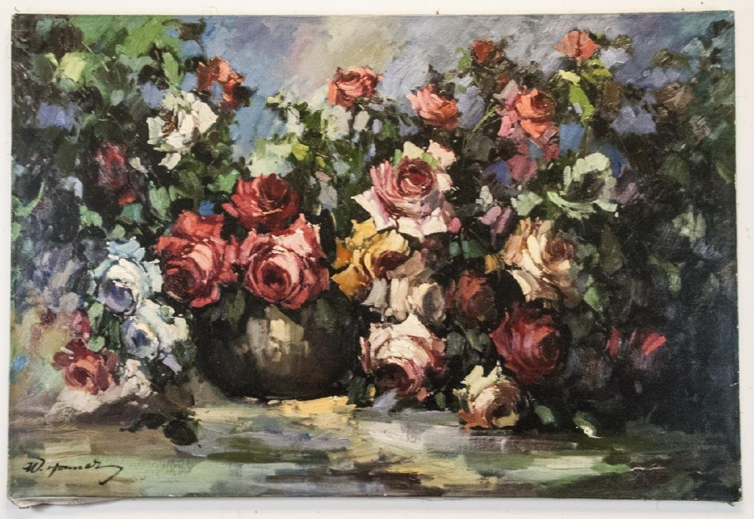 Oil on Canvas, Roses Still Life, Signed