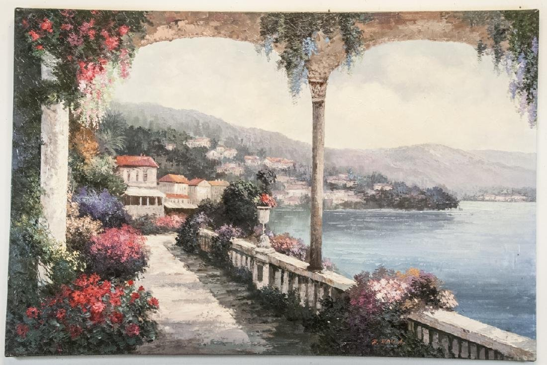 Oil on Canvas, Mediterranean Terrace