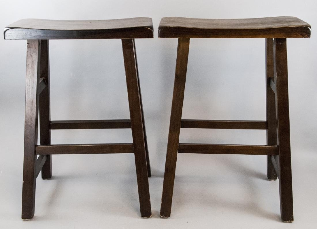Pair of Contemporary Carved Wood Bar Stools