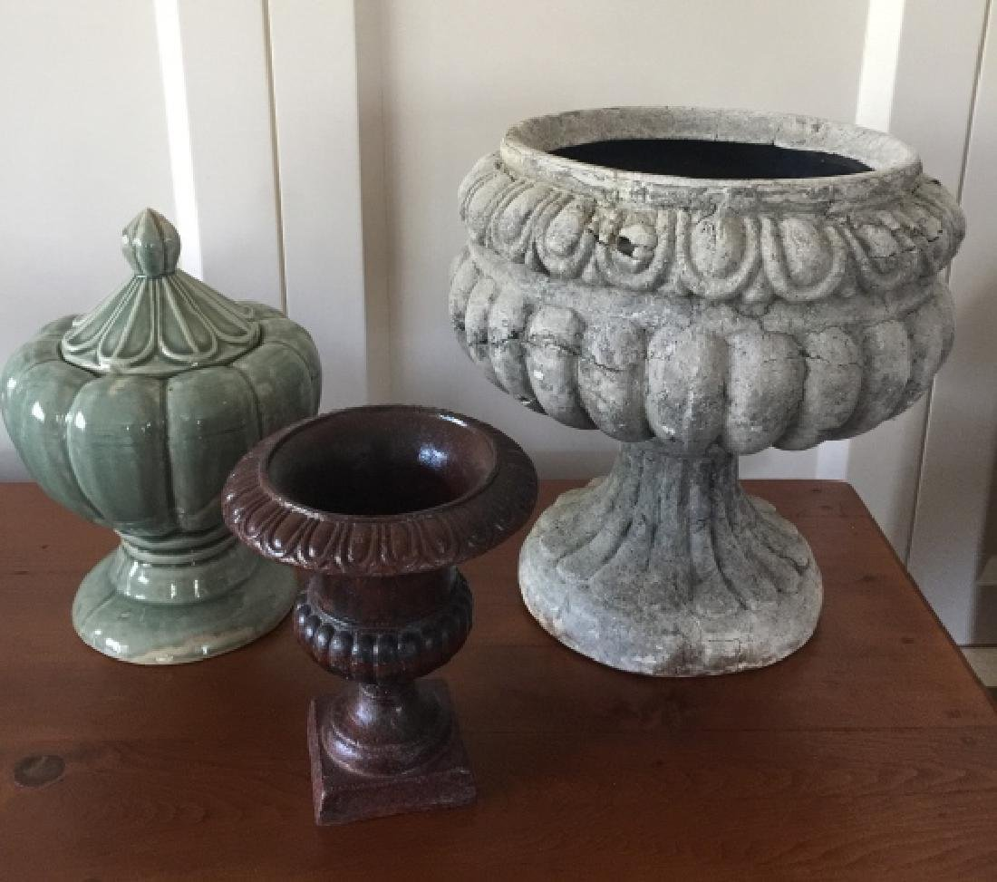Group of Three Decorative Floral Display Urns