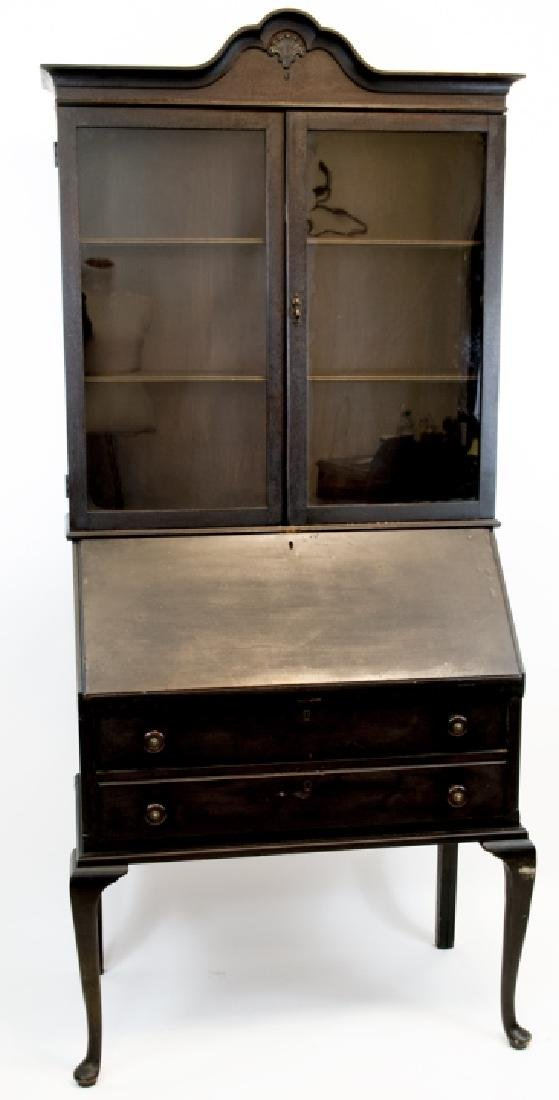 Vintage Ebony Toned Single Piece Secretary Desk