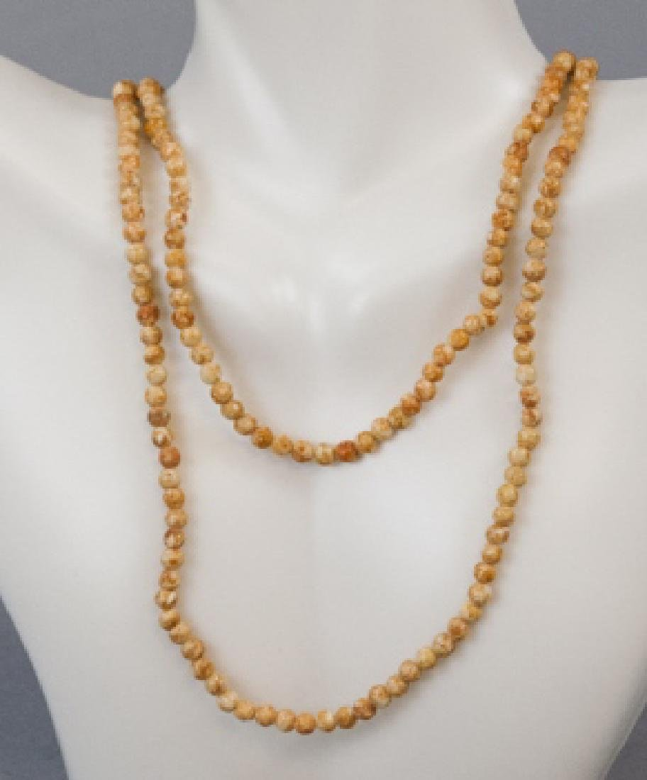 Estate 34 Inch Carved Coral Bead Necklace Strand