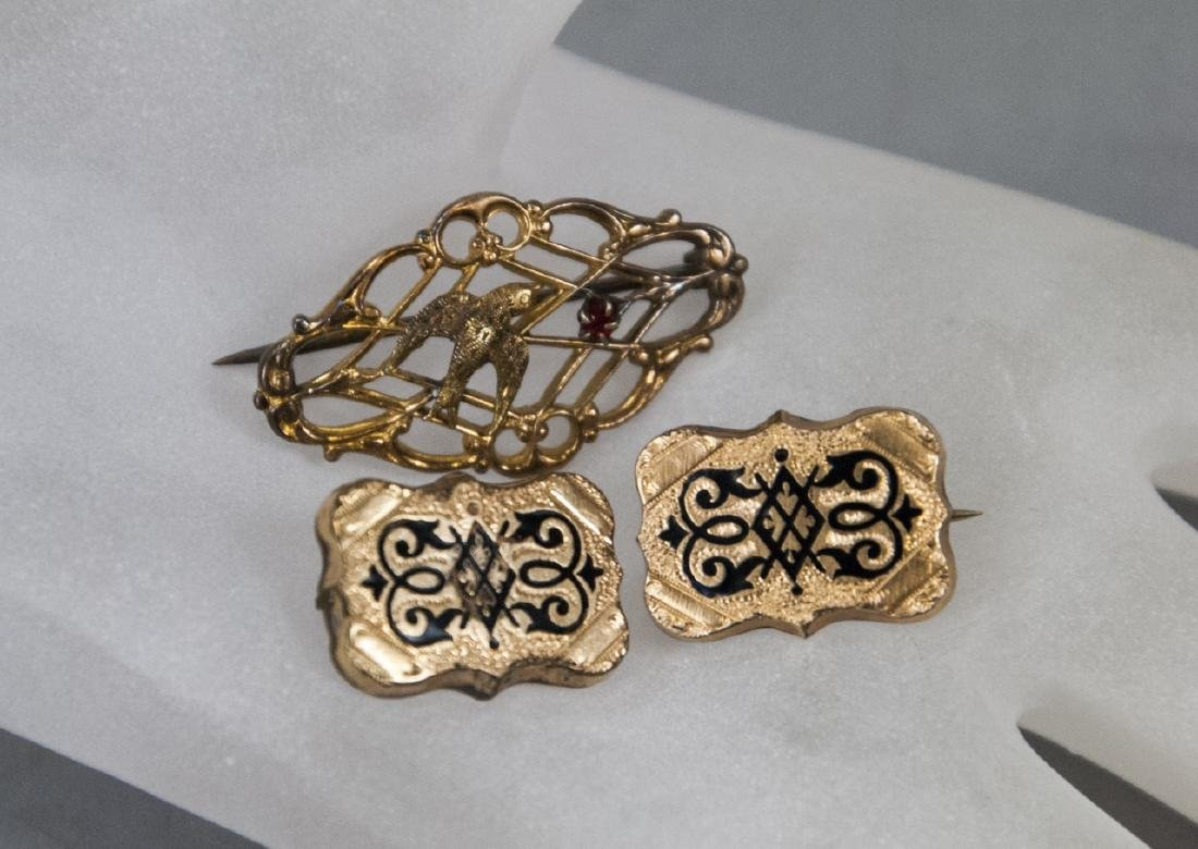 Three 19th C Victorian Brooches - Scroll & Swallow
