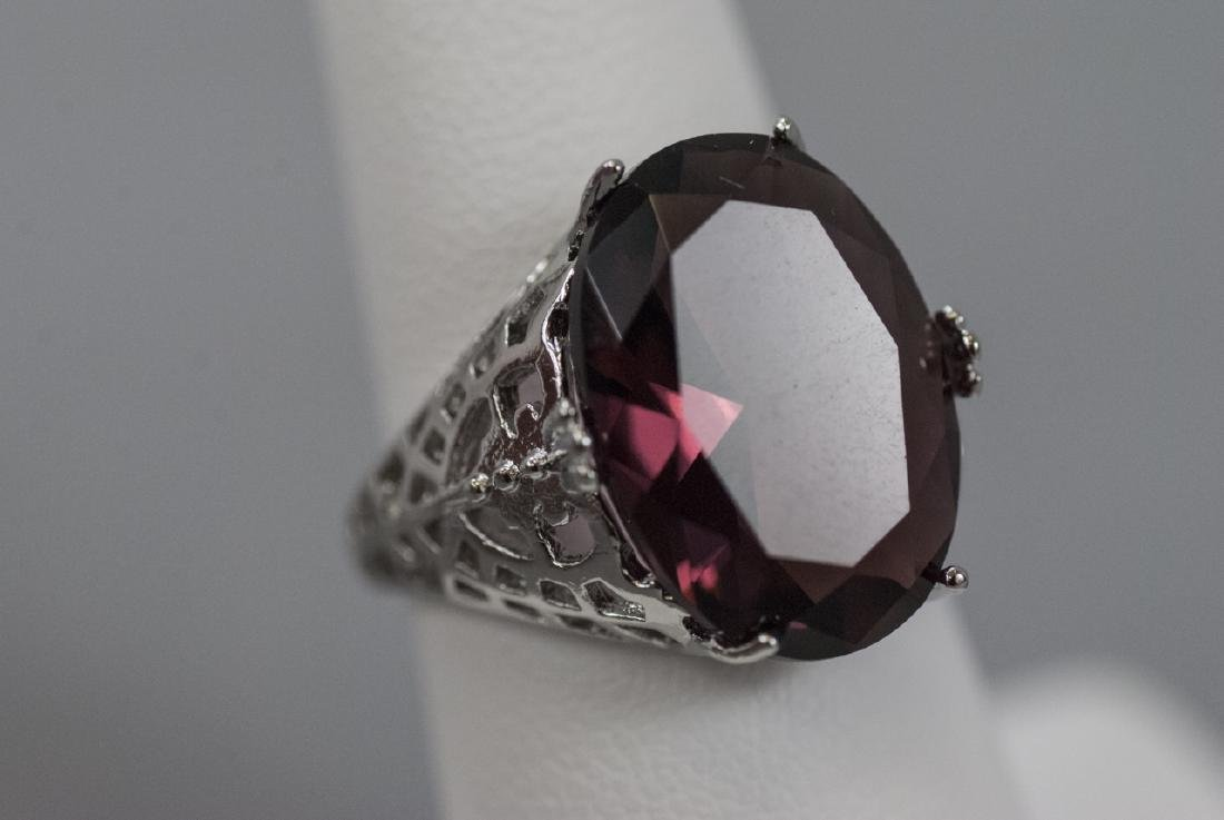 Sterling Silver Filigree Amethyst Cocktail Ring