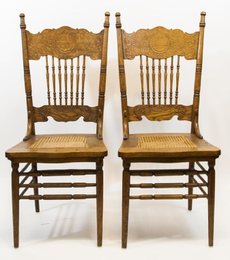 Pair American Oak Side Chairs w Caned Seats