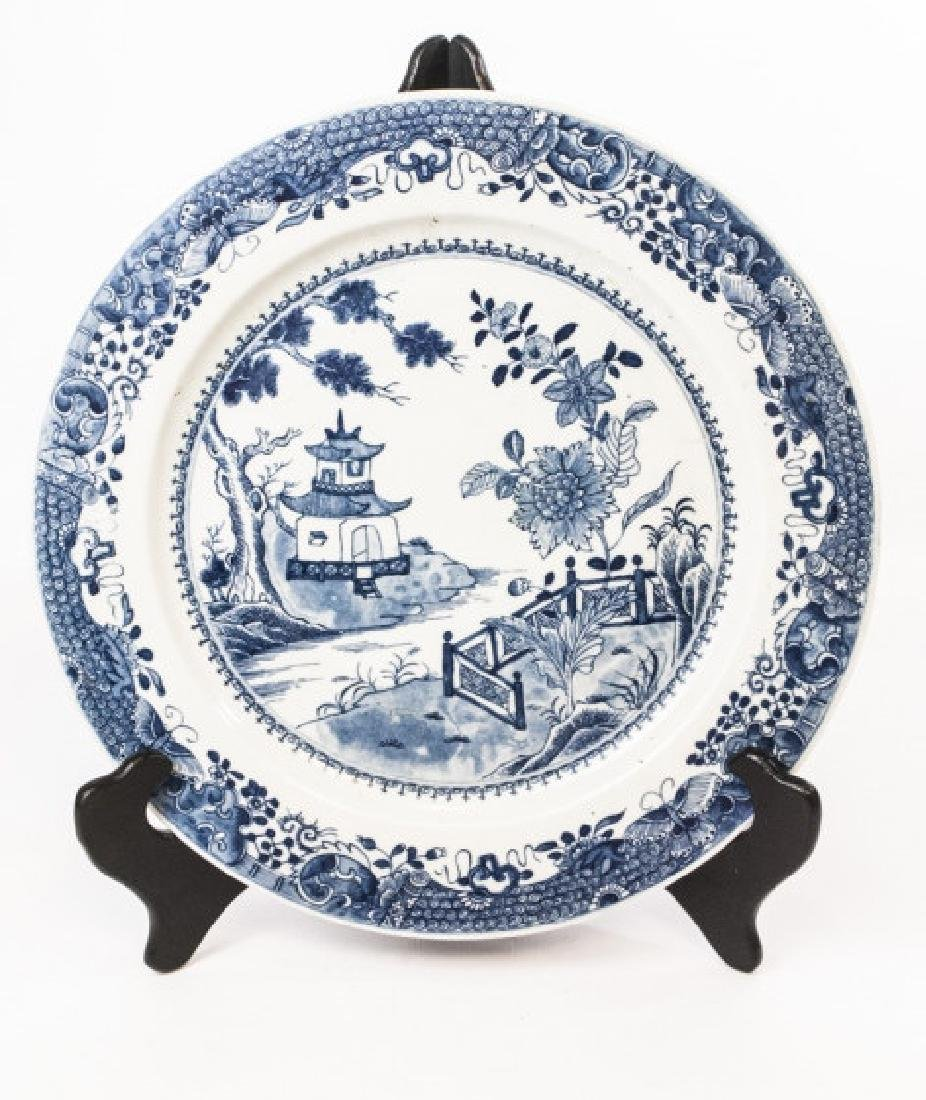 Chinese Canton Blue & White Porcelain Charger