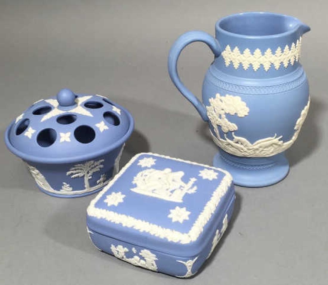 Trio of Wedgwood Blue Jasperware Pieces wMed Vase