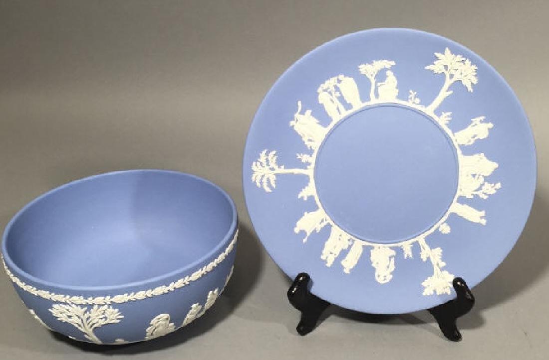 Wedgwood Blue Jasperware Bowl & Plate