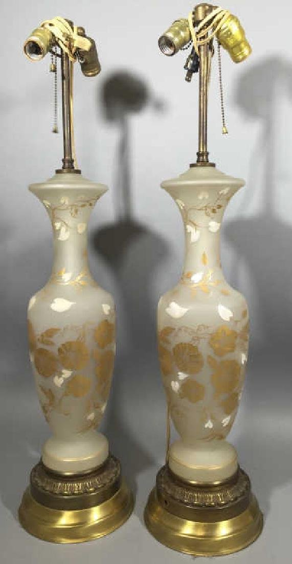 Pair Frosted Glass, Gold Floral Design Lamps