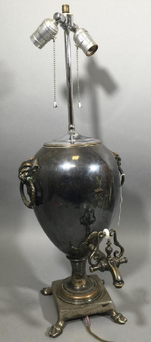 Antique Silver Plate Hot Water Kettle Lamp