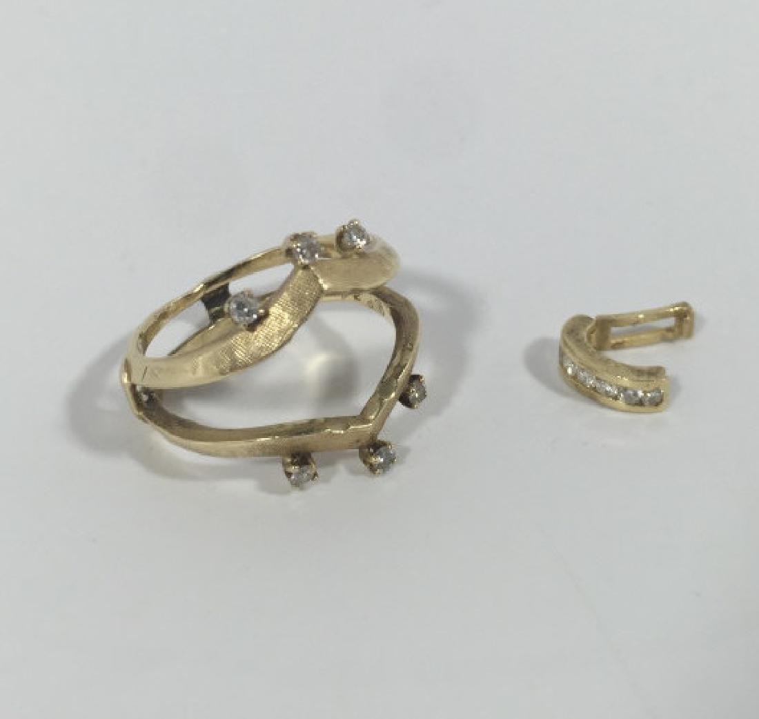 Estate 14kt Diamond Ring Jacket & Necklace Slide