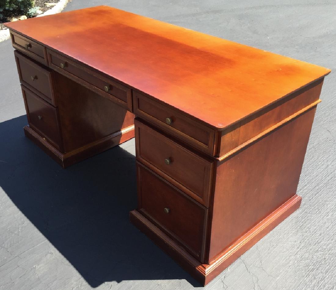 Contemporary Double Pedestal Office Desk w Storage