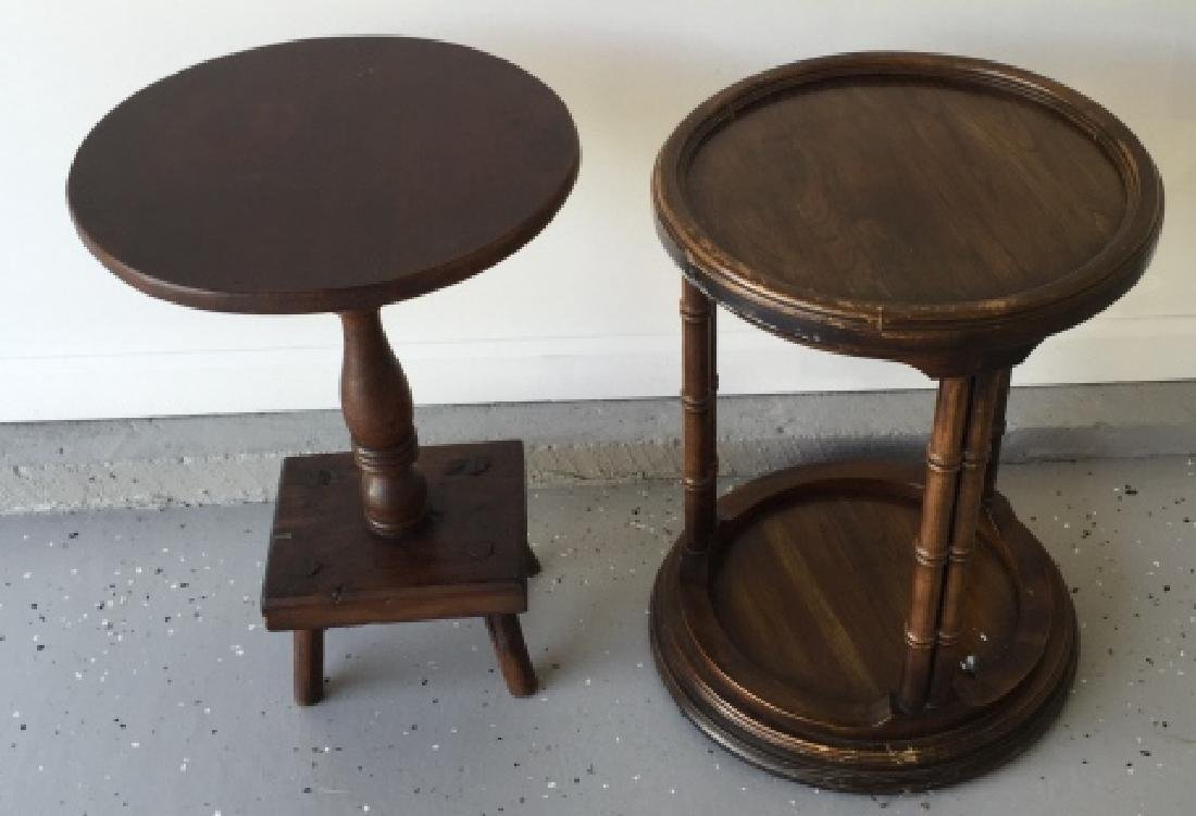 Antique Pedestal & Vintage Faux Bamboo End Tables