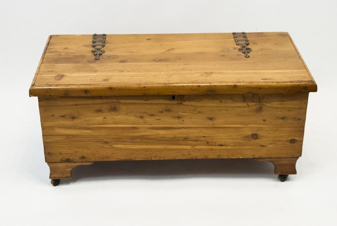 Vintage Solid Cedar Trunk / Storage Chest w Wheels