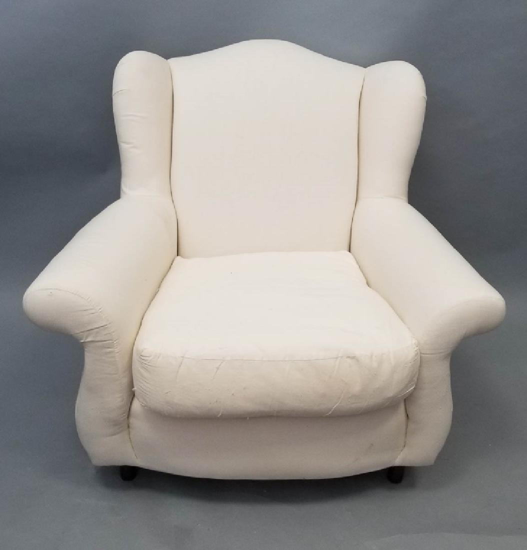 Contemporary Muslin Upholstered Oversized Armchair