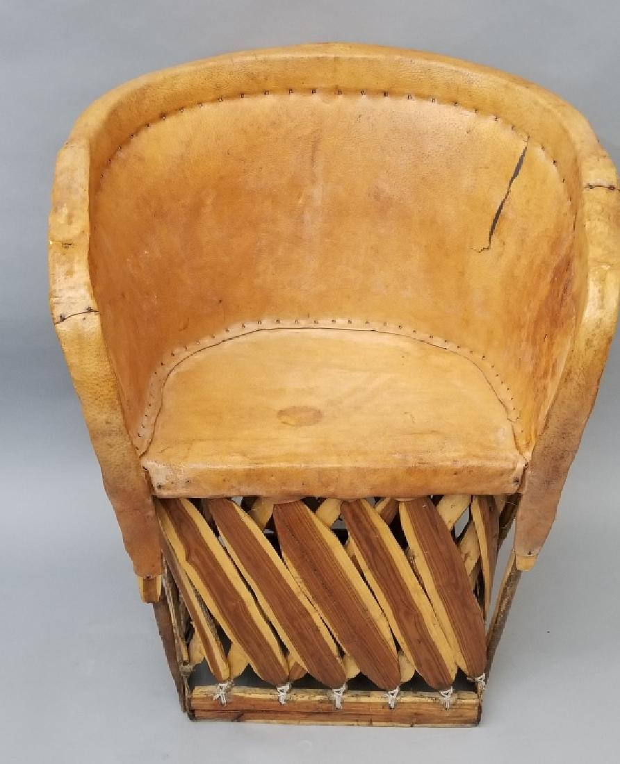 Bentwood & Pig Skin Leather Backed Rustic Chair