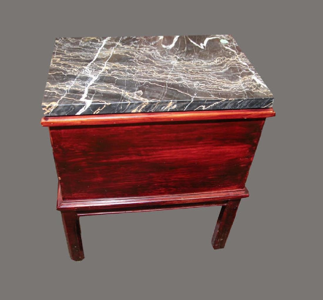 English Campaign Style Chest on Stand Marble Top