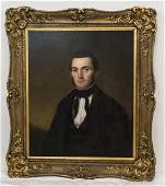 Antique 19th C American School Portrait of a Man