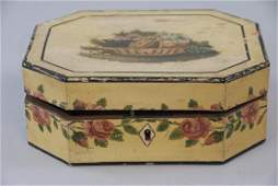 Antique American Folk Art Hand Painted Jewelry Box