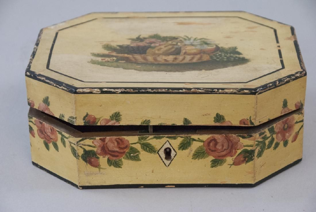 Antique American Folk Art Hand Painted Jewelry Box