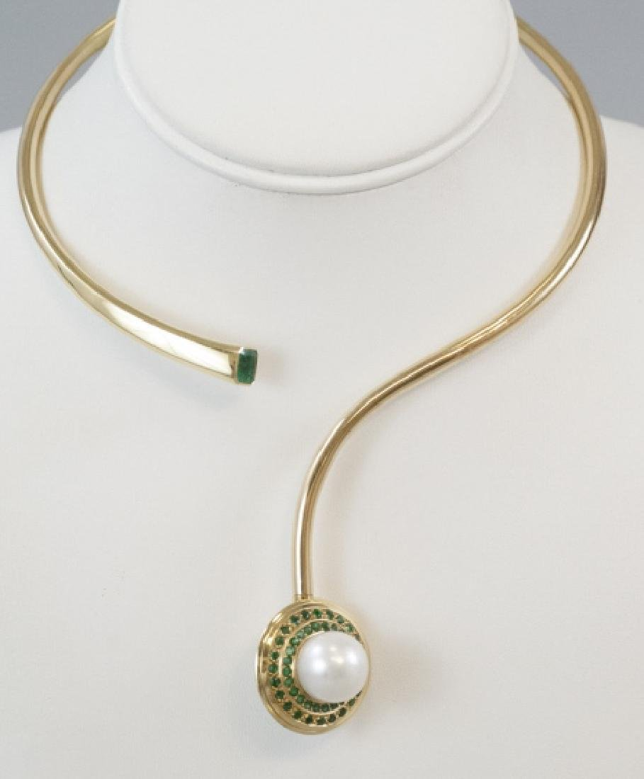 Estate 18kt Yellow Gold Pearl & Emerald Necklace