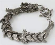 Silver Tone Articulated Chinese Dragon Bracelet