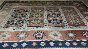 Large Vintage Tapestry Woven Kilim Style Carpet