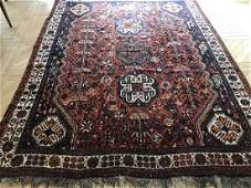 Antique Knotted Wool Blend Persian Oriental Carpet