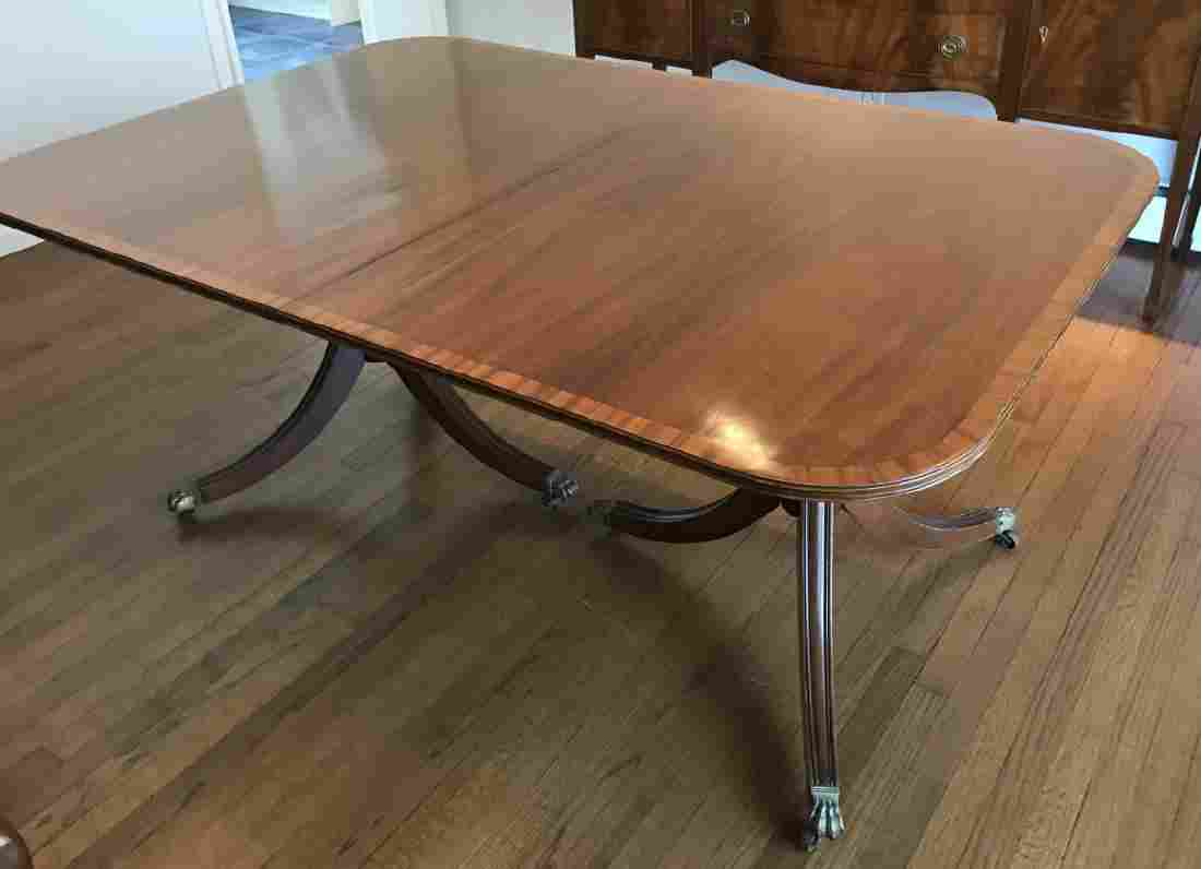 Double Pedestal English Sheraton Dining Table