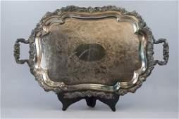 Sheffield Georgian Silverplate Footed Handled Tray