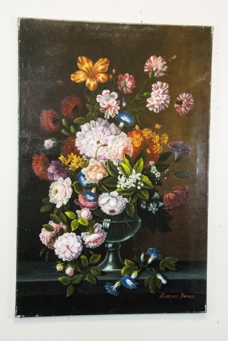 Oil on Canvas, Floral Still Life, Painting Signed