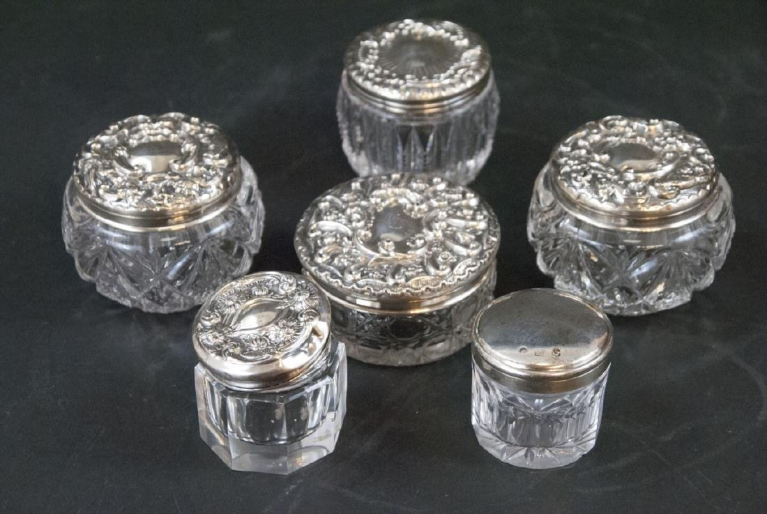 Collection of Sterling & Silver Plate Vanity Jars