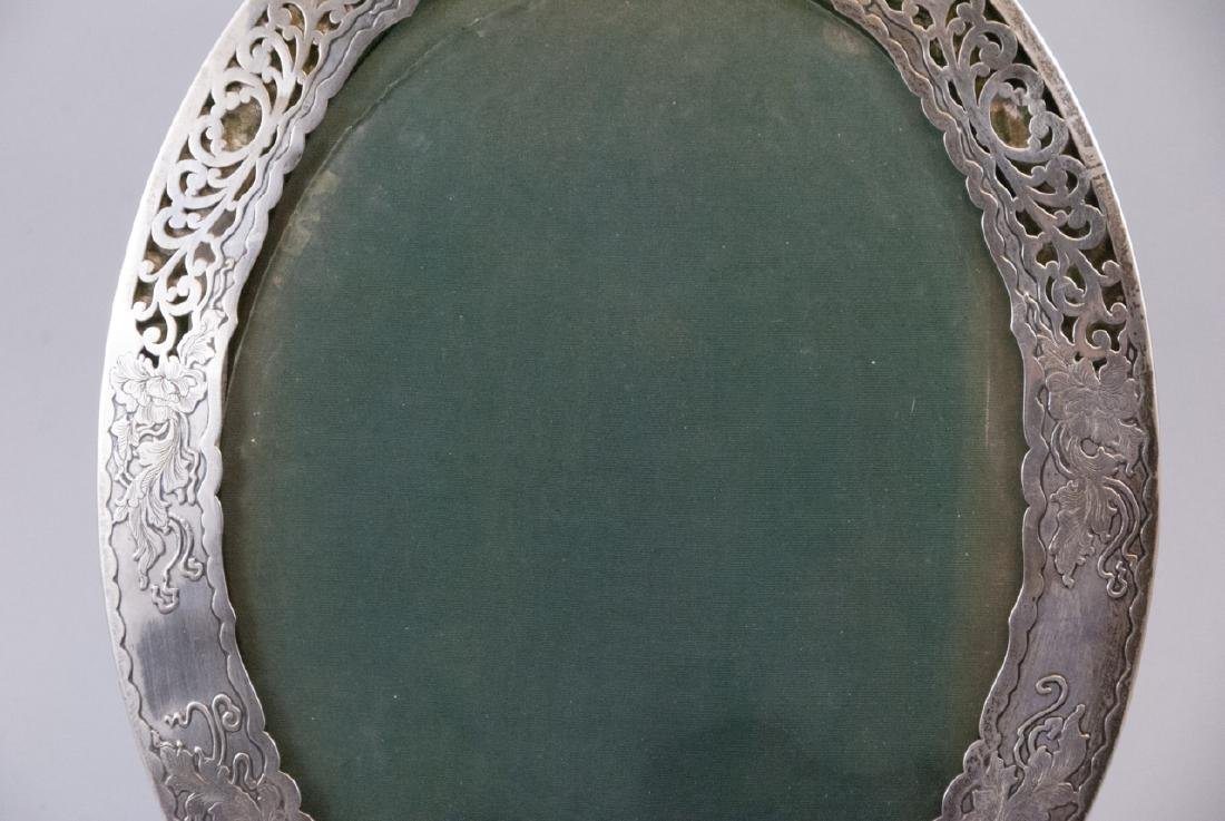 Large Antique Sterling Silver Oval Picture Frame - 8