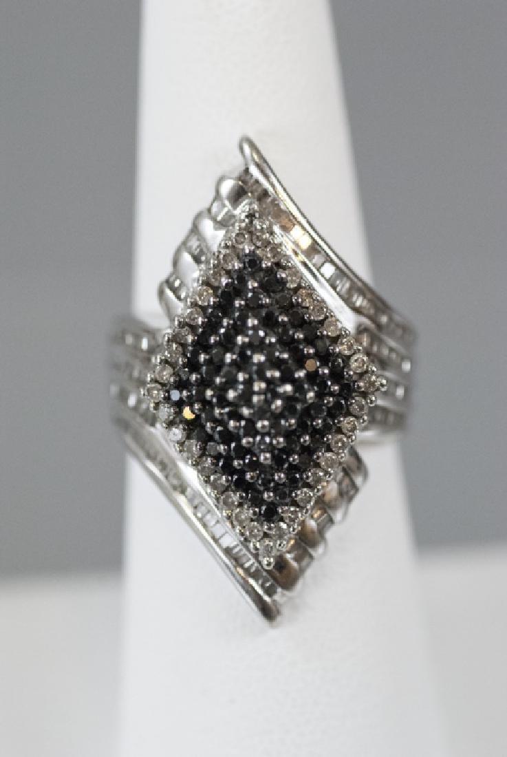 White Gold Bypass Ring w Black & White Diamonds