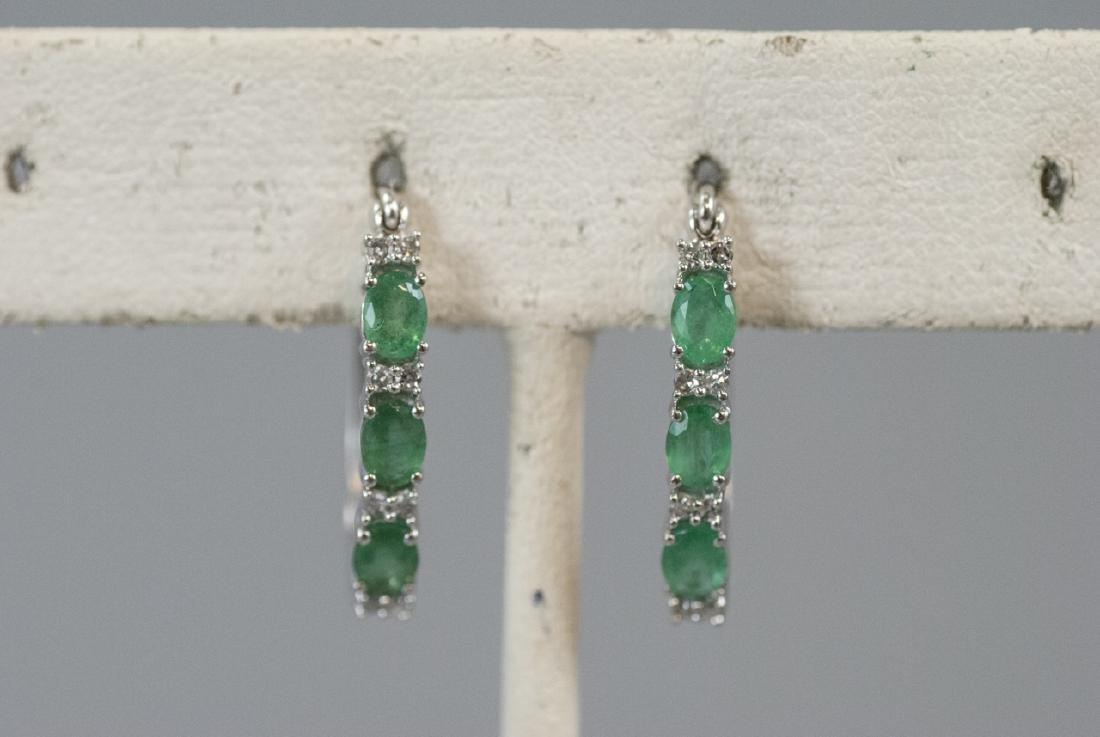 14kt White Gold Emerald & Diamond Hoop Earrings
