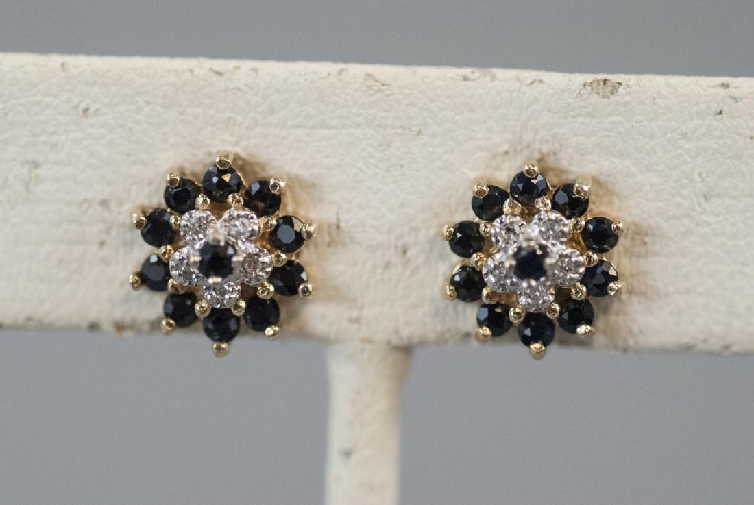 Estate 14kt Yellow Gold Diamond & Sapphire Studs